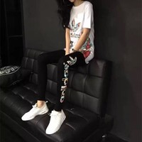 """Adidas"" Fashion Casual Clover Letter Pattern Print Stitching Gauze Mini Dress Set Two-Piece Sportswear"