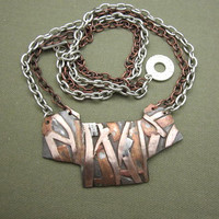 Large Mixed Metal Abstract Bib Statement Necklace, PMC