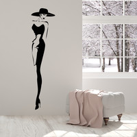 Vinyl Wall Decal Top Fashion Model Hat Retro Lady Style Woman Stickers (1408ig)