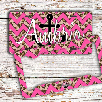 Gift for teen daughters Monogrammed license plate or frame Personalized front car tag Cute bike license plate Hot pink cheetah anchor (1417)