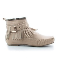 Kalisa63 Taupe By Wild Diva, Round Toe Studded Ankle Wrap Fringe Tribal Moccasin Flat Booties