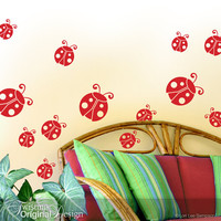 Ladybug / Ladybird Wall Decals - Wall Pattern, Polka Dot Ladybug Decor, Birthday Party Decorations, Laptop Stickers, Spring Decor