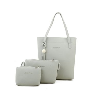 Tassel Detail Tote Bag With Clutch 3pcs
