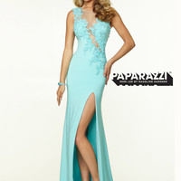 High Neck Beaded Lace With High Slit Paparazzi Prom Dress By Mori Lee 97110