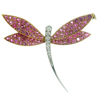 Van Cleef & Arpels Pink Sapphire Diamond Gold Small Dragonfly Brooch