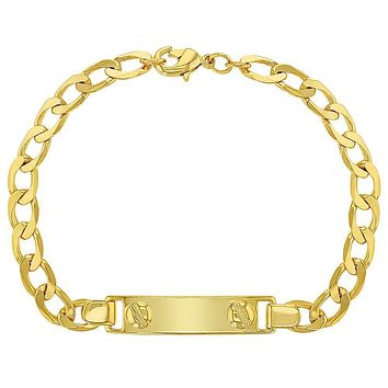 18k Gold Plated Tag ID Identification Bracelet for Children Unisex 6""