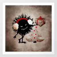 Evil Bug Gives Christmas Present Art Print by Boriana Giormova
