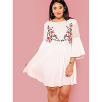 Plus Floral Embroidered Dot Jacquard Smock Dress
