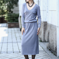Multiple Color V-Neckline Pockets Drawstring Waist Knitted Shift Dress