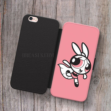Wallet Leather Case for iPhone 4s 5s 5C SE 6S Plus Case, Samsung S3 S4 S5 S6 S7 Edge Note 3 4 5 Powerpuff Girls Blossom Cases