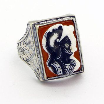 Vintage Art Deco Hard Stone Trojan Soldiers Cameo Sterling Silver Men's Ring