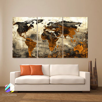 "LARGE 30""x 60"" 3 Panels Art Canvas Print World Map Abstract background Texture Metal Wall Decor Home Office (Included framed 1.5"" depth)"