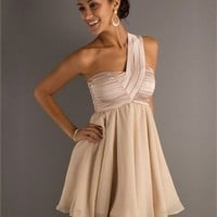 One-shoulder A-line beige Mini with drape Prom Dress PD0270
