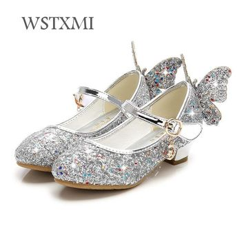 Children Shoes for Girls High Heel Princess Sandals Fashion Kids Shoes Glitter Leather Butterfly Girls Party Dress Wedding Dance