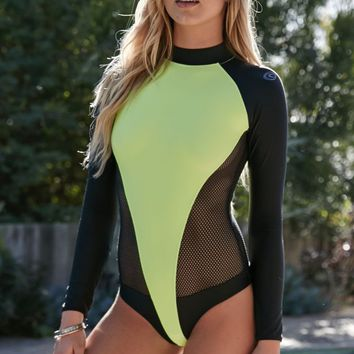 Rip Curl Neon Long Sleeve Raglan Surfsuit - Womens Swimwear - Black