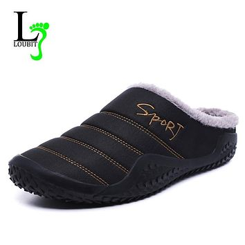 2019 Shoes Men Winter Slippers Warm Waterproof Canvas Shoes With Fur Plus Size 39-48 Outside Slippers Casual Rubber Non-slip