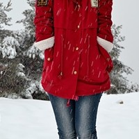 Red Beige Long Sleeve Faux Fur Hooded Chest Patch Drawstring Waist Parka Coat