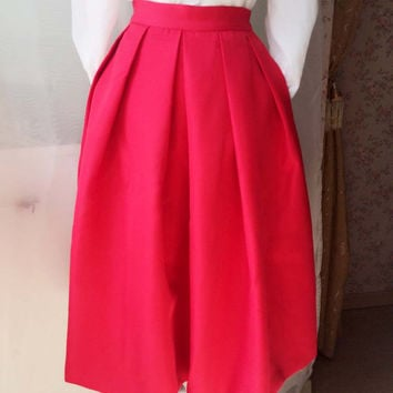 2015 Fashion Midi Skirt in Red/Black, Women Midi Skirt with pockets. Circle Pleated Skirt, Full Red Tea Length Party Skirt. Custom Size