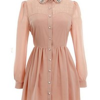 Kawaii Lolita Petal Collar Chiffon Long Sleeve Dress - Black, Beige or Pink - S M L from Tobi's Finds