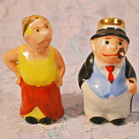 FREE SHIPPING Maggie And Jiggs Salt And Pepper Shakers, Bringing Up Father Character Shakers, Miniature Figural Shakers