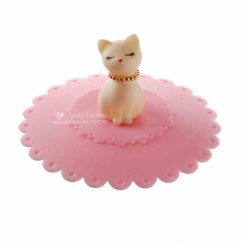 1pcs Cute Cat Silicone Glass Cup Cover Coffee Mug Suction Seal Lid Cap Silicone Airtight Love Creative