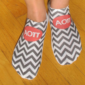 Full Print Sorority Chevron No Show Socks - Alpha Omicron Pi and More - Set of 3 pairs