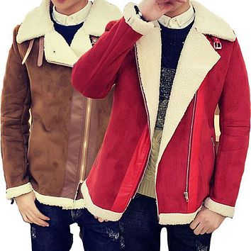 Fall-shearling Winter Coat Faux Fur Suede Jacket Sid Zip Lamb Wool Mens Sheepskin Coat - Beauty Ticks