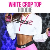 SHREDZ FEMALE CROP HOODIE – WHITE/PINK