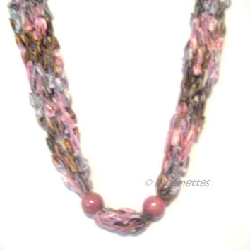 ON SALE Crocheted Necklace Boho Jewelry Pink Gray Ladder Yarn Necklace Cascade Necklace Trellis Bead Necklace