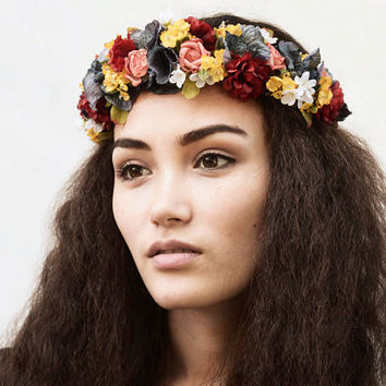 Secret Garden Flower Crown - Floral Crown, Homecoming, Bridal Flower Crown, Headband, Headpiece, Autumn Wedding, Hippie, Boho, Fall Bride