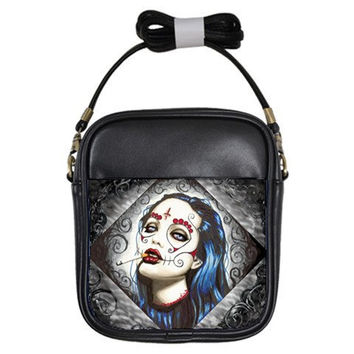 Sugar Skull Sling Purse by ShayneoftheDead on Etsy