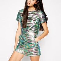 Lashes of London Oil Print Quilted Boxy T-Shirt