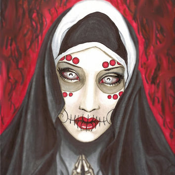 """Day of the Dead Praying Nun """"Revelation"""" 12x18 stretched canvas"""