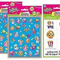 Shopkins Stickers & Tattoos ~ 8 Sticker Sheets and 24 Tattoos ~ Party Favors