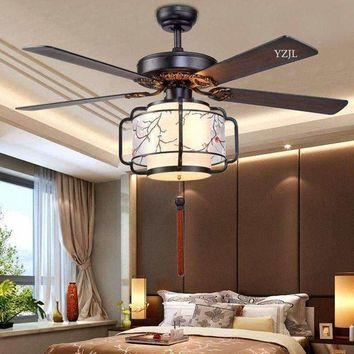 2017 Chinese restaurant fan chandelier LED fan chandelier fan lamp Chinese style living room bedroom fans with remote control