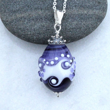 Unique Purple & White Glass Bead Pendant, Sterling Silver, Lampwork Jewelry, Swedish Glass Jewelry Handmade by Marianne Degener