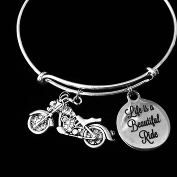 Life is a Beautiful Ride Crystal Motorcycle Jewelry Silver Expandable Charm Bracelet Adjustable Bangle Gift Trendy One Size Fits All Gift