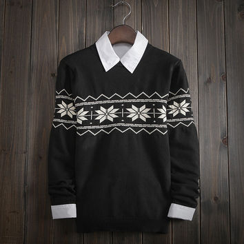 Men's Comfortable Soft FAIR ISLE Christmas Snowflake Sweater