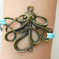 Imitation bronze Octopus braided waxed thread Adjustable Bracelet lingering sentiments