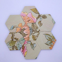 "Vintage wallpaper ""Song bird"" covered wooden hexagon wall tiles - customise your own wall quilt - magnets also attached"