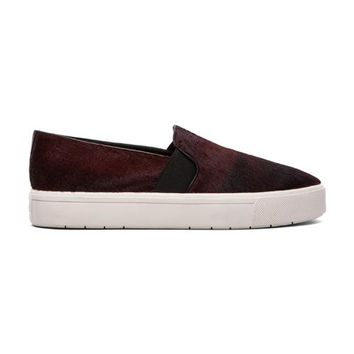 Vince Berlin Calf Hair Slip On Sneaker in Burgundy