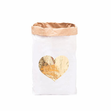 Paper Storage Bag - Gold Heart