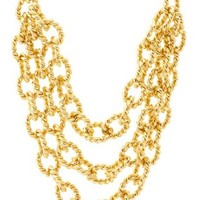 Gold Twisted Chain Statement Necklace by Charlotte Russe