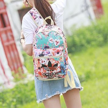 ¡°Adidas¡± Beautiful Flower School Laptop Backpack Lightweight Shoulder Bag Travel Daypa