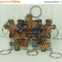 Summer Sale Family we may not have it all together but together we have it all Set of 6 puzzle piece key chains Leather