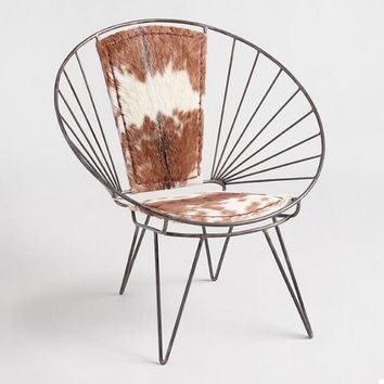 Metal and Goat Hide Chair