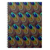 Vibrant Colorful Exotic Peacock Feather Spiral Notebook
