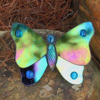 JIGGLING  BUTTERFLY Garden Stake, Iridescent  Stained Glass, Yard Art, Yard Ornament, 3D, Turquoise Gems,  Decorative Solder