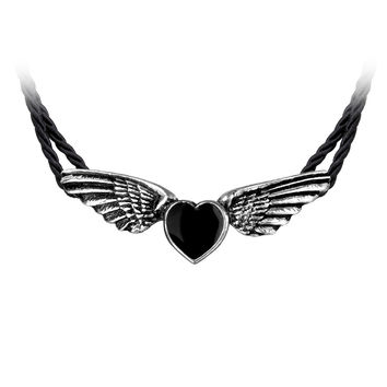 Alchemy Gothic Coeur Noir Black Heart & Wings Pendant Necklace Choker