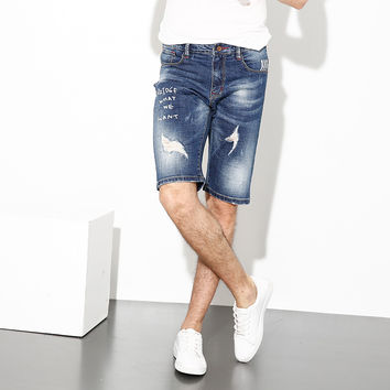 Summer Fashion Men Jeans Shorts Blue Color Destroyed Ripped Jeans Men Shorts Brand Clothing Denim Elastic Youth Paint Shorts Men